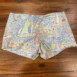 Lilly Pulitzer Get Nauti Liza blue sailboat shorts